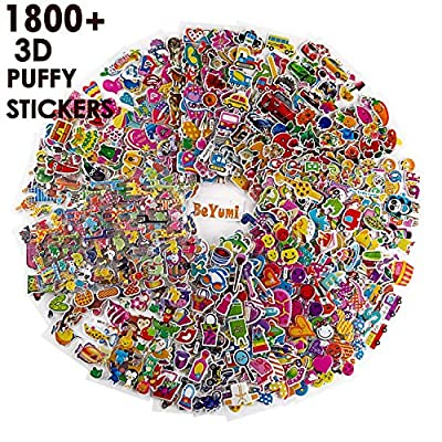 BeYumi 58 Different Sheets Kids Stickers (1800+count), 3D Puffy Stickers, Craft Scrapbooking for Kids, Including Animals, Cars, Trucks, Airplane, Food, Letters, Flowers, Pets and Tons More! by BeYumi
