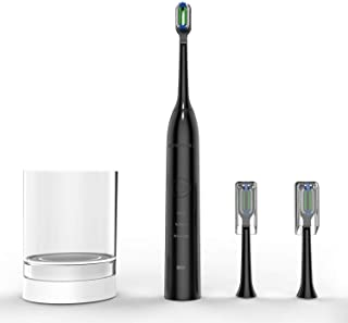 Sonic Electric Toothbrush for Adults, USB Wireless Inductive Charging Whitening Electric Toothbrush with 5 Replacement Heads
