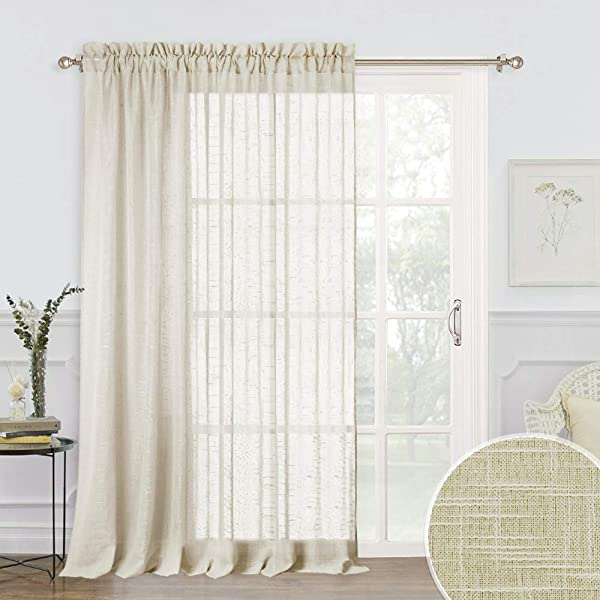 RYB HOME Sheer Curtains 100 Linen Fabric Privacy Sheer Drapes For Living Room Window Semi Transparent Voile Drapes Sunlight Glare Filter For Dining Family Room Warm Beige 100 X 84 Inches