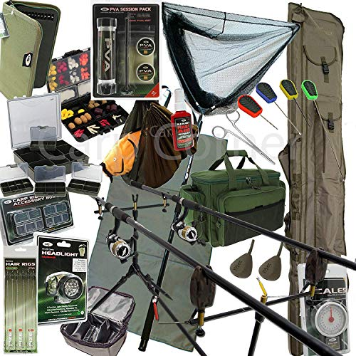 Deluxe Complete Full Carp Fishing Set up With 2x Rods Reels Alarms Tackle Bait