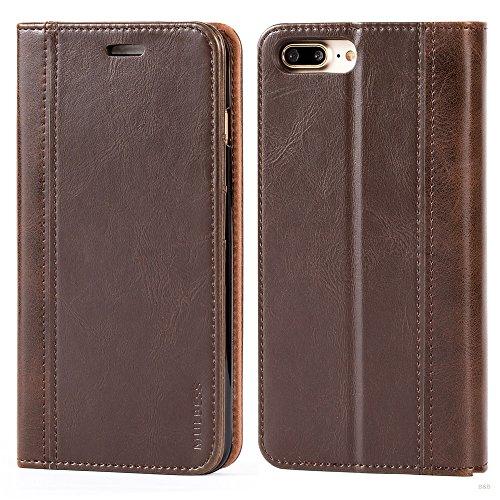 Mulbess Cover per iPhone 8 Plus, Custodia Pelle con Funzione Stand per iPhone 8 Plus / 7 Plus (5.5 inch) [Book Case], caffè Marrone