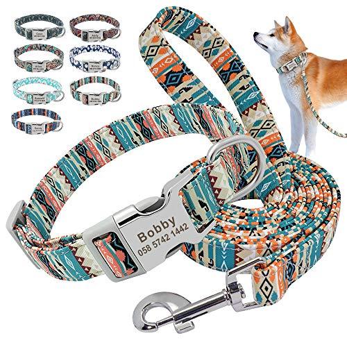 Beirui Juego de collar y correa de nailon personalizados, collares de estilo étnico suaves para perros pequeños, medianos y grandes con hebilla ligera, L, verde bohemio
