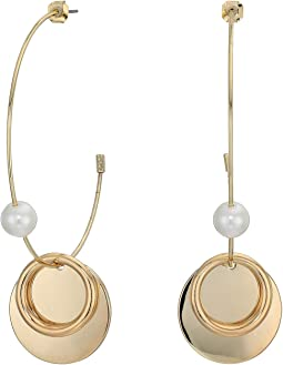 Pearl Disc Hoop Earrings