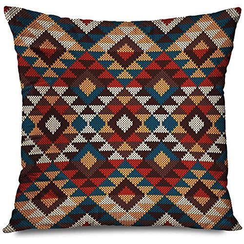 Aoyutiy Kussensloop Mexico Oude Patroon Structuur Jurk Traditionele Tribal Aztec Wol Peru Abstract Jacquard Sweater Rits Kussensloop