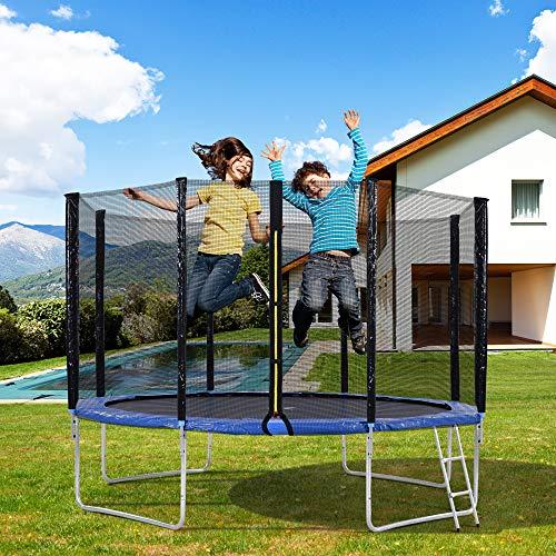 Belissy Cama elástica para exteriores, cama elástica para niños con red de seguridad y barras acolchadas, cama elástica de jardín de 366 cm, soporta hasta 150 kg,ha superado la prueba GS y TÜV (12 FT)