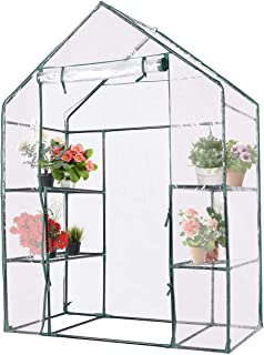 Giantex Greenhouse Outdoor Large Walk-in Plant Green House with 3 Tier Shelves for Plants, Herb and Flower with Door and Sturdy Frame (White)