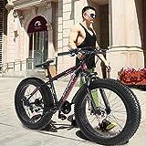 Cool Fat Tire Mountain Snow Bike Men Women Bicycle High-Tensile Aluminum Frame Outdoor Road Bike (Red)