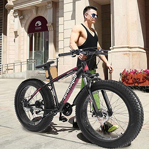 Cool Fat Tire Mountain Snow Bike Men Bicycle High-Tensile Aluminum Frame Outdoor Road Bike (Red)