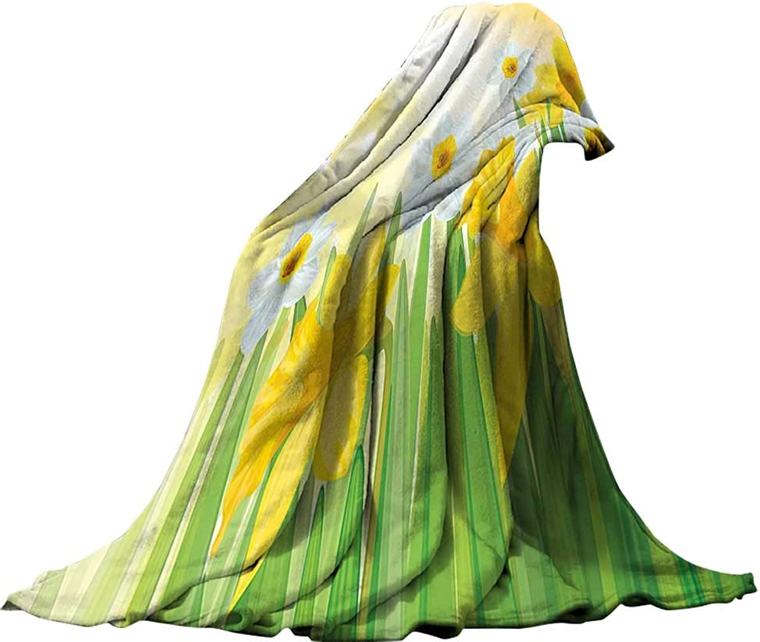 QINYANHome Weave Pattern Extra Long Blanket (90 x70 ) Lightweight Bed or Couch BlanketDaffodil Decor Daffodils in Garden Narcissus Rebirth Beginnings Celebration Graphic Green Yellow White.