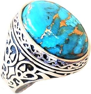 خاتم رجالي مطلي بالفضة مع حجر تركواز، مقاس US 10