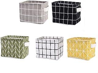 Toyvian Lot de 5 paniers de rangement en coton et lin rectangulaires en tissu pour jouets