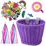 Kid's Bicycle Basket Streamers Set, Children's Bike Handlebar Wicker Basket with Colorful Bike Streamers Bell and Stickers, Bike Decoration Accessories Kit for Girls (Purple)