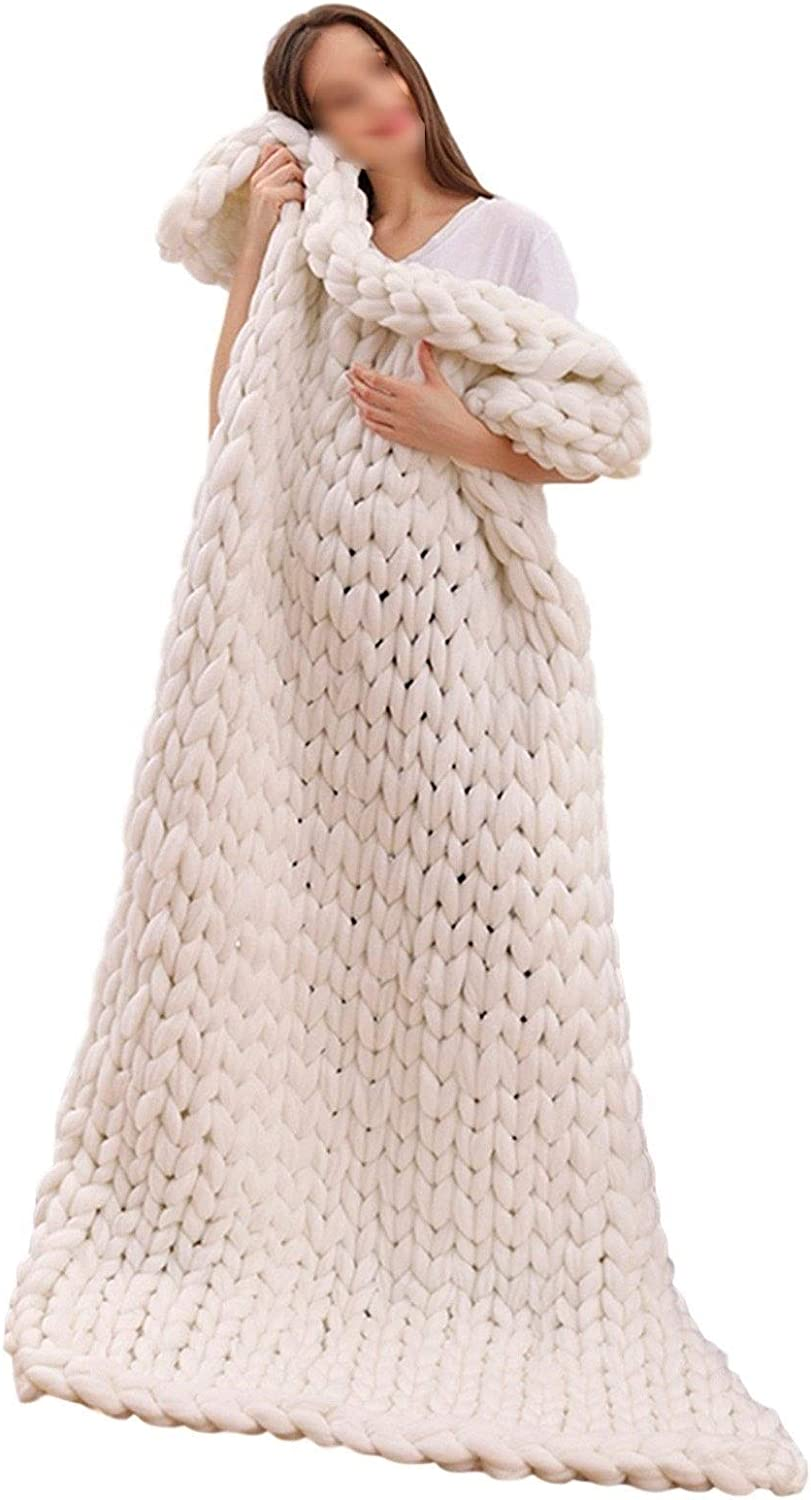 Chunky Knitted Blanket Polyester Hand Bargain sale Made Throw Knit Brand Cheap Sale Venue Arm