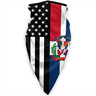 USA Dominican Republic Flag Face Mask Neck Gaiters Bandana Scarf Balaclava Multifunctional Headwear for Outdoor Sports Black
