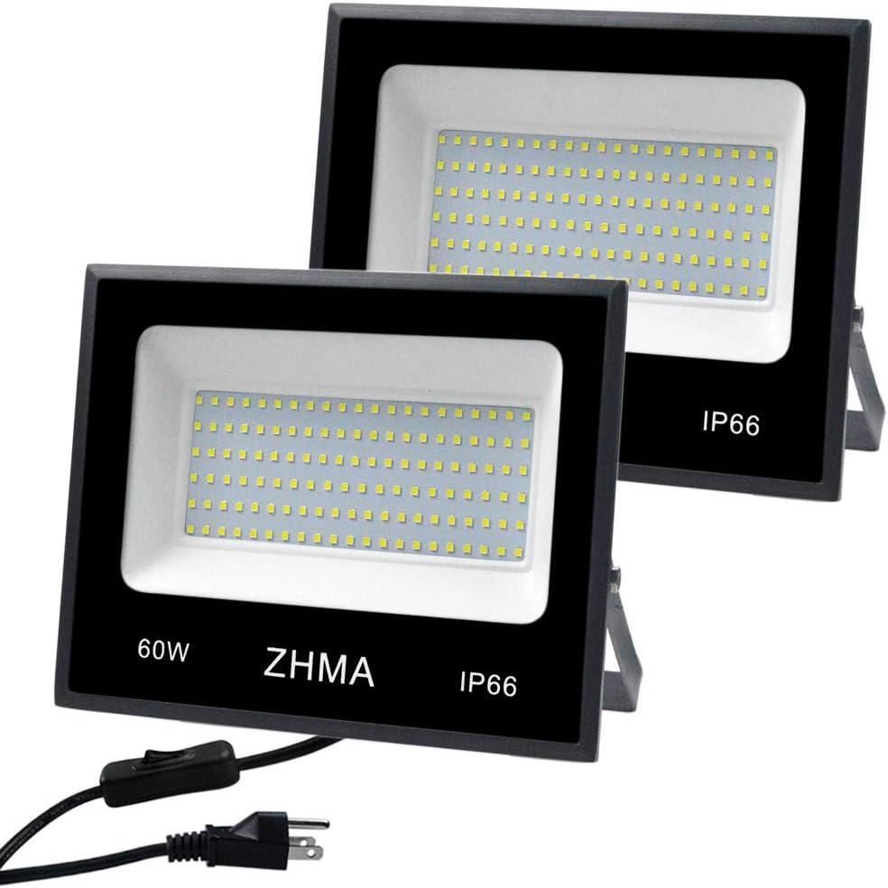 Max 71% OFF ZHMA 2 Pack 60W LED Outdoor Wor Flood Lights Sale item Wall Lighting Light