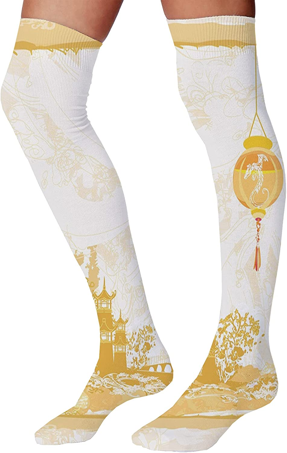 Men's and Women's Fun Socks,Old Middle Age Tower by The Sea Renaissance Buildings Dreamy Princess Print