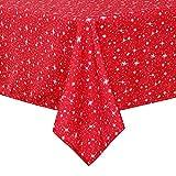 Deconovo Mantel Navidad de Mesa con Estrellas del Universo Decorativas 130 x 220 cm Rojo
