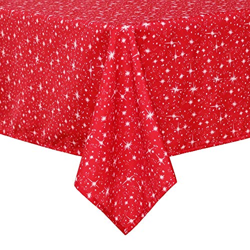 Deconovo Mantel Navidad de Mesa con Estrellas del Universo Decorativas 137 x 200 cm Rojo