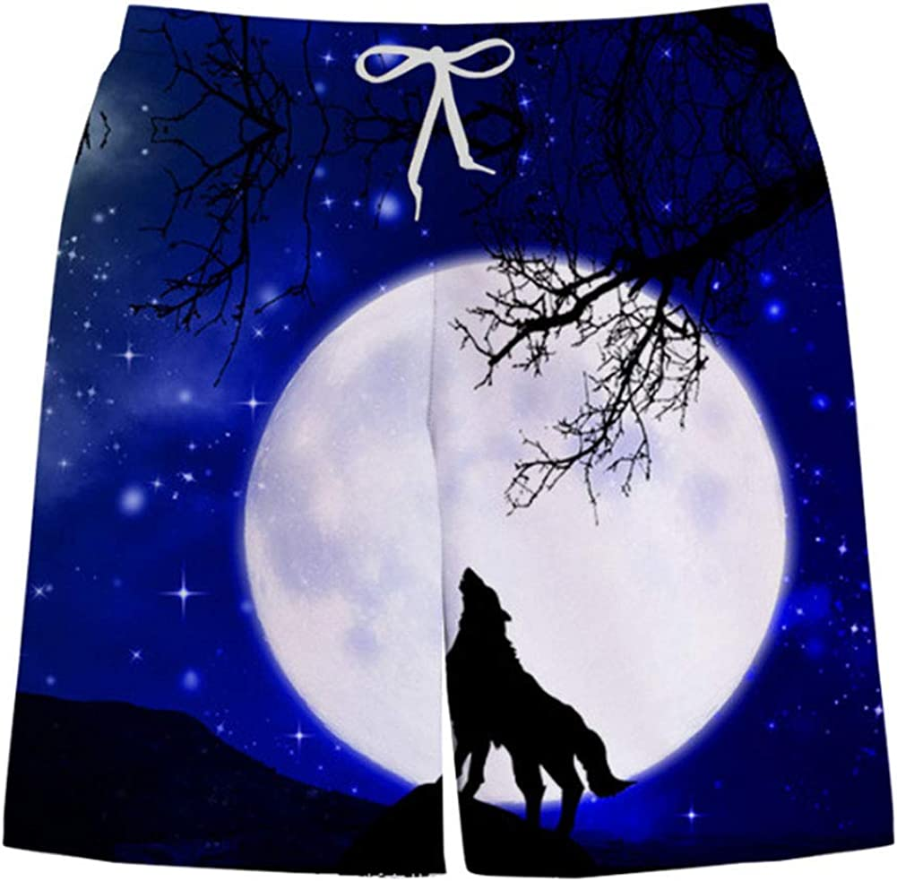 CJF Summer 3D Beach Trunks,Starry Moonlight Wolf Printing Shorts,Personalised Mens Beach Trunks,for Men Boys Teenagers