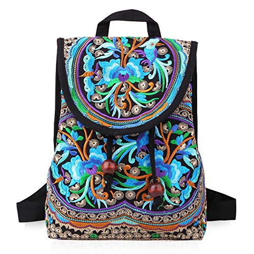 Handmade Embroidered Backpack for Women, Mazexy Boho Shoulder Bag Vintage Ethnic Flower Cross-body Bag