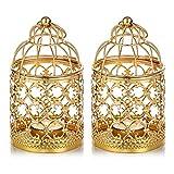 Nuptio 2 Piezas De Metal Pequeño Tealight Colgante Linterna De Jaula, Centros De Mesa Decorativos Vintage De Boda y Fiesta, Oro