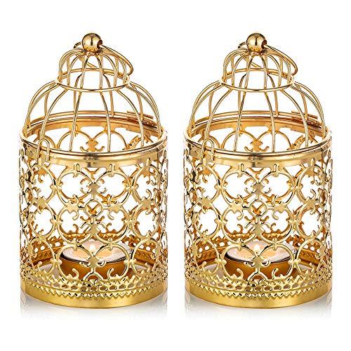Nuptio 2 Stück Kleine Metall Teelicht Hängen Vogelkäfig Laterne, Vintage Dekorative Mittelstücke Der Hochzeit & Party, Gold Teelichthalter Kerzenständer Weihnachten Deko, Laternen für Draußen