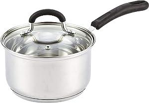 Cook N Home 02711 Steel Stainless Saucepan, 3-QT Silocne Handle
