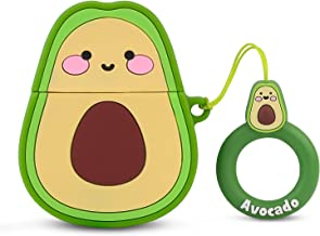 Bqmte Avocado Silicone Case Compatible for Airpods 1&2, Cute 3D Funny Character Soft Kawaii Fun Cool Keychain Cover Skin for AirPods Wireless Charging (Avocado)