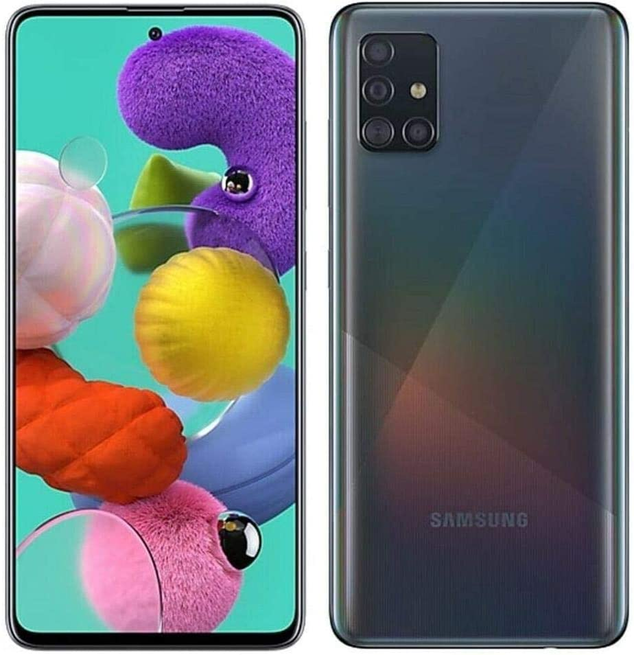 Samsung Galaxy A51 Factory Unlocked Cell Phone | 128GB of Storage | Long Lasting Battery | Single SIM | GSM or CDMA Compatible | US Version | Black (Renewed)