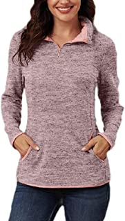 Womens 1/4-ZipCasual Pullover Sweatshirt Quarter Tops with Pockets