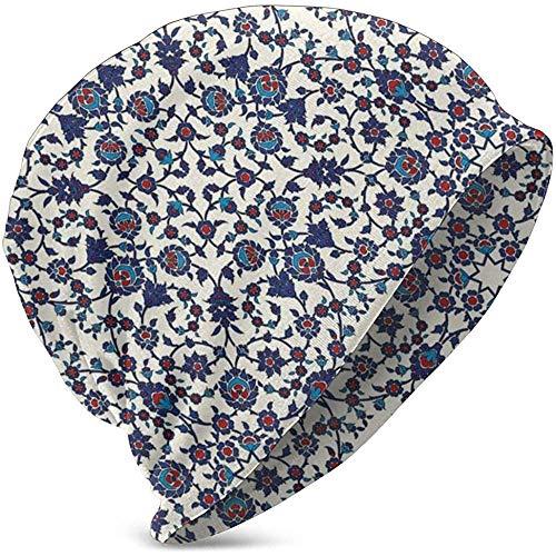 GodYo Beanie Baggy Skull Hat, Marokkaans bloemenpatroon met victoriaans rococoladebarokdesign, unisex thee, verschillende gebreide mutsen