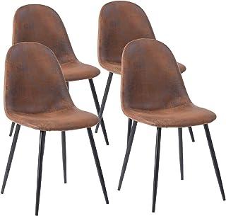MEUBLE COSY Lot de 4 chaises de salle à manger Scandinave Fauteuil Salon Salon Pied Métal Noir Rétro Vintage en Suède Marron