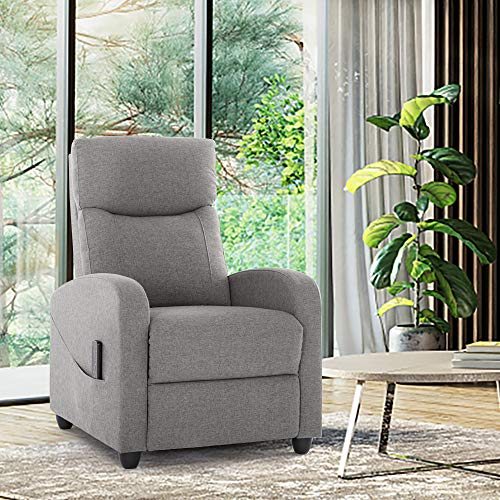 Recliner Chair Massage Single Sofa Arm Chair for Living Room Modern Ergonomic Adjustable Home Theater Seating Fabric Thicker Seat Backrest Cushion (Grey)