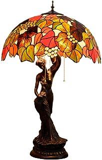 QGL-HQ Décédés Feuille Verte Verre Abat-Jour de Bureau, de Style Tiffany Lampe de Table, Vintage Décoration Nuit/Chevet Lu...