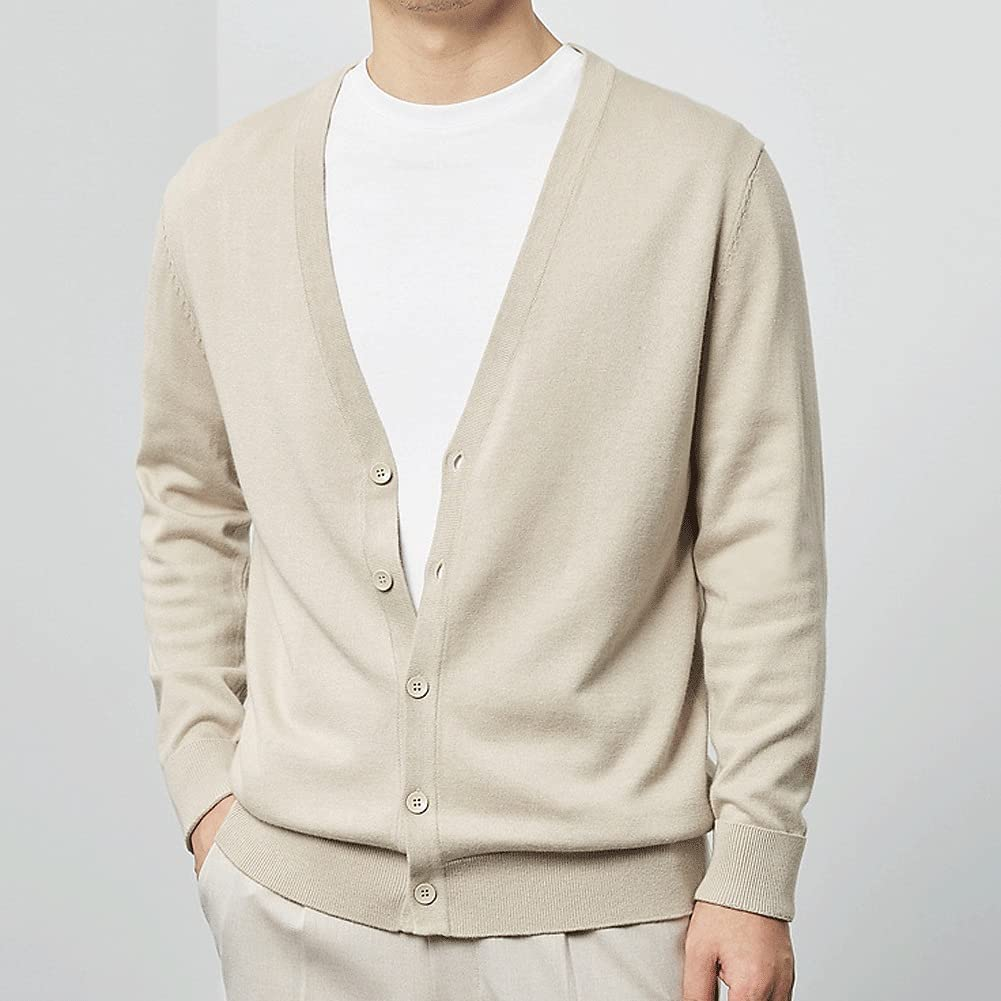 DIAOD Cardigan Male Autumn Solid Color Cardigan Knitted Cardigan Cotton Casual Buttoned Cardigan (Color : Beige, Size : L Code)