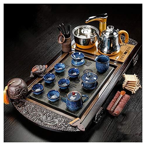 Tea Set, Kung Fu Tea Set con Vassoio, Legno Automatico Gongfu Tea Set, Set Completo di Cerimonia Piccola Tea Tea Tray Tea Set, Insiemi di tè Semplici, Scaldabagno, Teiera, Toy Tea Set Home Office USA