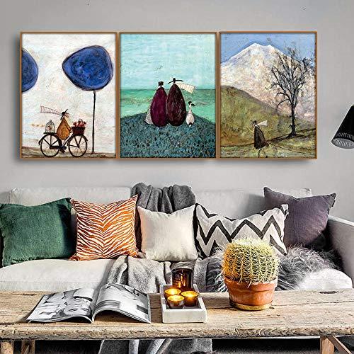 SHINERING Free Life Nordic Wandbild Posterdruck Leinwand Malerei Kalligraphie Dekor für Wohnzimmer Schlafzimmer Home Decor 30 x 40 cm gerahmt