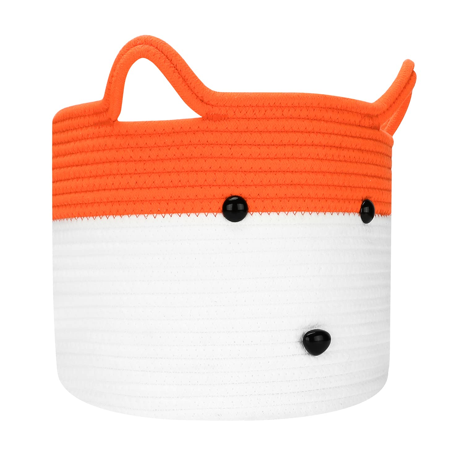 Cute Cotton Rope Basket Collapsibe Pet Toy Basket | Hombins Baby Basket for Gifts Empty White Blanket Basket Washable Animal Woven Hamper for Clothes, Socks, Fox Basket, 12