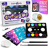Face Painting Kit for Kids - 32 Stencils, 8 Water Based Face Paint...