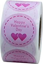 Hybsk Pink Happy Valentine's Day Stickers Round Circle Party Favor Gift Labels Total 500 Per Roll