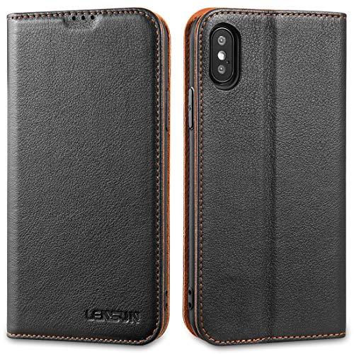 LENSUN Echtleder Hülle für iPhone X/iPhone XS, Leder Handyhülle Magnetverschluss Kartenfach Handytasche kompatibel mit iPhone X/XS (5,8 Zoll) – Schwarz(XS-DC-BK)