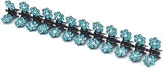 12 PCS New Cute Mini Plum Crystal Hair Claws Hairpins Children Hair Clips Kids Headwear Princess Barrette Girls Hair Accessories Lake blue