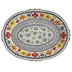 Beautiful old world European traditional hand painted stoneware 14-inch serving platter brings an eloquent look for any Table setting Great for parties, get-togethers, or just a fun family dinner Serving platter can be used to serve delicious appetiz...