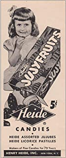 RelicPaper 1948 Jujy Fruits Candy: Assorted Jujubes, Heide Candies Print Ad
