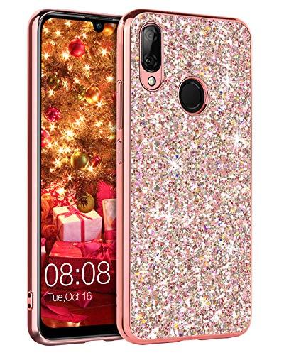 YINLAI Huawei P Smart 2019 Hülle/Honor 10 Lite Handyhülle Glitzer Bling Shiny Girly Cover Dünne Durable Hybrid TPU Stoßstange Anti-Rutsch Schutzhülle für Huawei P Smart 2019/Honor 10 Lite, Roségold