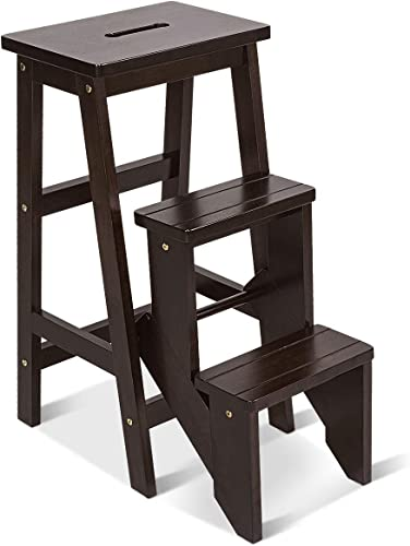 2021 Giantex 3 Tier Folding Step Ladder, Multifunction 3-in-1 Wood Step Stool, 353 lbs Capacity Display Ladder and popular Storage Shelf sale for Library, Home Kitchen, Household Work (Brown, 30''H) outlet online sale