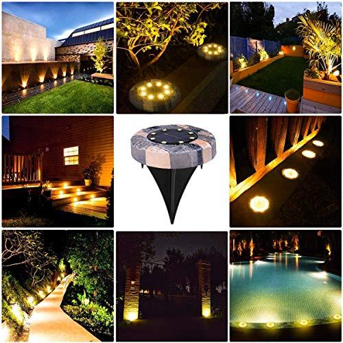 Namotu Lámpara solar de suelo para jardín, para exteriores, 16 ledes, lámpara solar, lámpara de jardín, IP65 resistente al agua, para césped, camino, patio, jardín, blanco cálido, juego de 4
