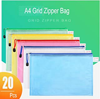 MerryNine 20 Pack Mesh Zipper Pouch Document Bag, Letter Size/A4 Size, 5 Color Plastic Folders, for Office and Travel Organization