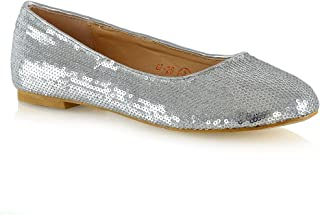 bf057d8a2e79 ESSEX GLAM Womens Slip On Shoes Sequins Ballet Ladies Flat Bridal  Bridesmaid Flower Girl Sparkly Pumps