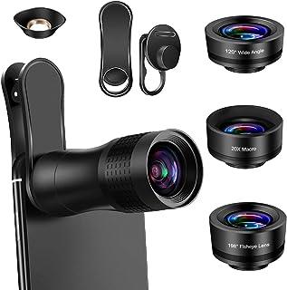 AFAITH Lente de Cámara para Teléfono 4 en 1 Lentes para Moviles Kit Teleobjetivo para Movil 14XLente Ojo de Pez de 198° Gran Angular de 120 ° Lente Macro 20X para iPhone/Android Smartphone